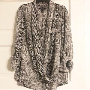 Alfani Snakeskin Drape-Front Blouse - Size 10